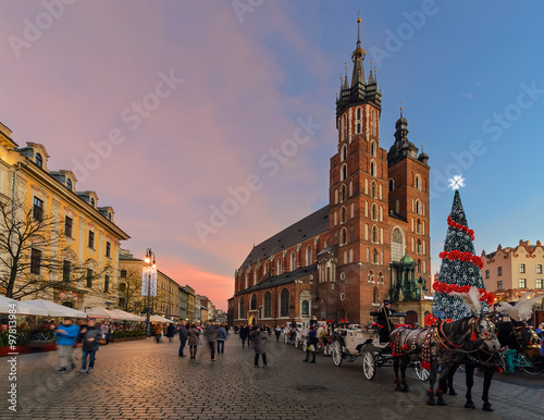 Fotobehang Krakau Market Square of the Old City in Krakow decorated by the christm