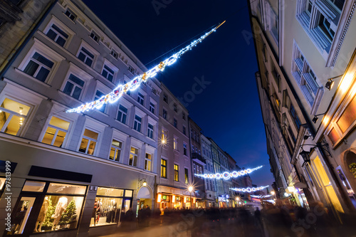 Fototapeta Florianska street in the centre of Krakow, decorated by the chri obraz