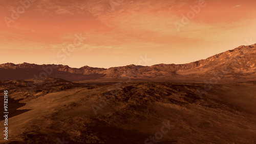Canvas Prints Coral Mars like red planet, with arid landscape, rocky hills and mountains, for space exploration and science fiction backgrounds.