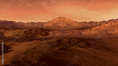 Spoed Foto op Canvas Koraal Mars like red planet, with arid landscape, rocky hills and mountains, for space exploration and science fiction backgrounds.