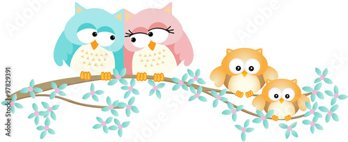 Poster Uilen cartoon Cute owl family on spring tree branch