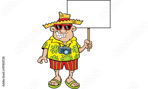Photo Stands Indians Cartoon illustration of a tourist holding a sign.