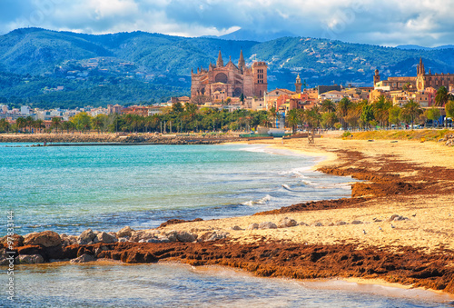 Fotografie, Obraz  Sand beach in Palma de Mallorca, gothic cathedral in background, Spain