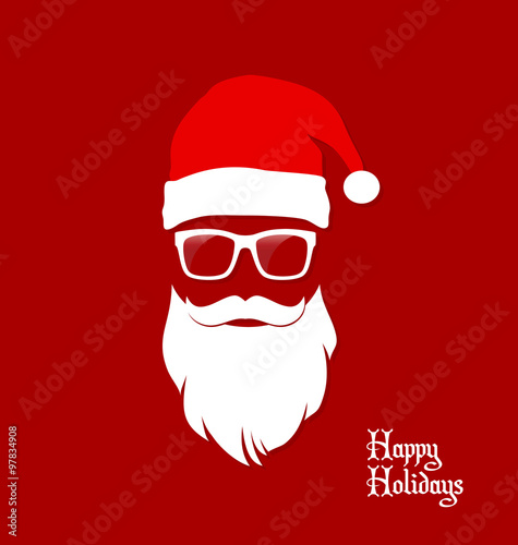 Fotografía  Hipster Santa Claus, Party, Greeting Card, Banner, Sticker, Hipster Style