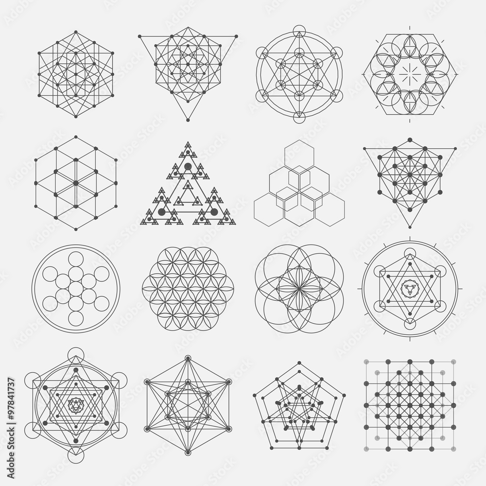 Fototapeta Sacred geometry vector design elements. Alchemy, religion, philosophy, spirituality, hipster symbols and elements