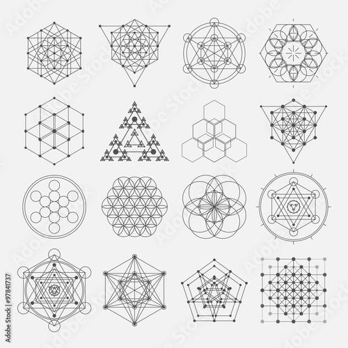 sacred geometry vector design elements alchemy religion