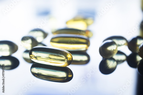 Fotografie, Obraz  Fish oil capsules health food supplement