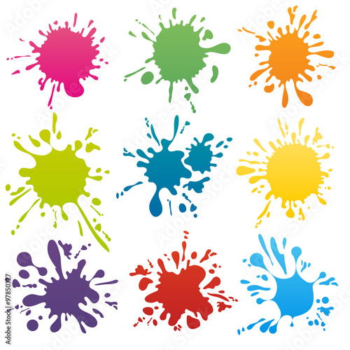 La pose en embrasure Forme Colorful ink spots set vector