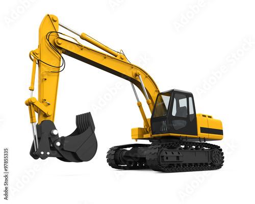 Stampa su Tela Yellow Excavator Isolated