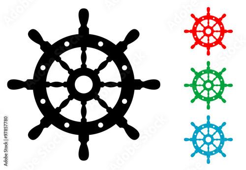 Icono plano timon de barco en varios colores #1 Wallpaper Mural