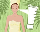 Fototapeta Sypialnia - Bamboo cream massage girl