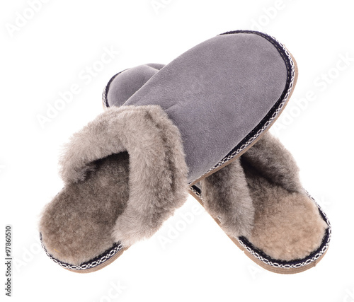 6ac1de19f9f40 a pair of gray suede winter slipper on isolated on white background ...