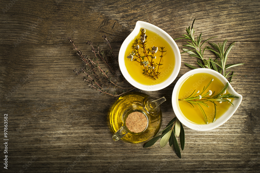 Fototapety, obrazy: Olive oil with herbs