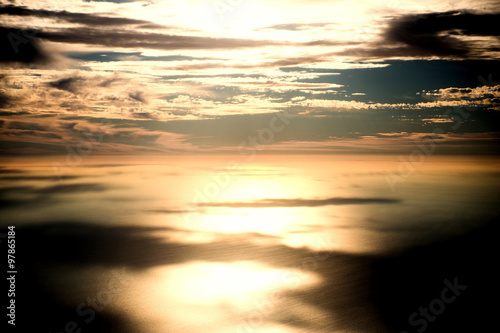 Fotografia, Obraz  Sun and sunlight beam over sea. Background