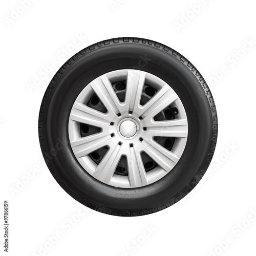 Fotografía  Car wheel with decorative plastic cover isolated