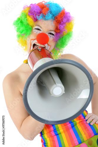 Clown In Kostum Zu Karneval Fasching Oder Fastnacht Brullt Und