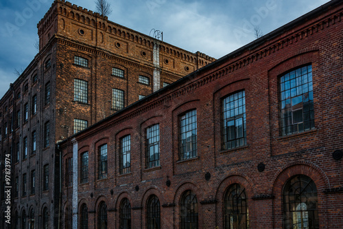 Facade of an old textile factory, Lodz, Poland
