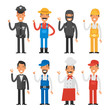 People of different professions showing thumbs up