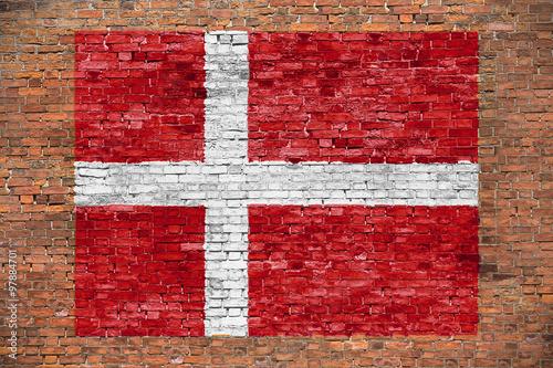 Flag of Denmark painted on brick wall Fototapete