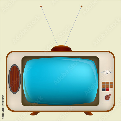 Old TV with blue screen / Vintage TV in a wooden case with an antenna and button Canvas Print