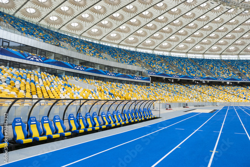 Fotobehang Stadion KYIV, UKRAINE - October 04: The empty tribunes of Olympic stadium (NSC Olimpiysky) after UEFA EURO 2012 at October 04, 2012