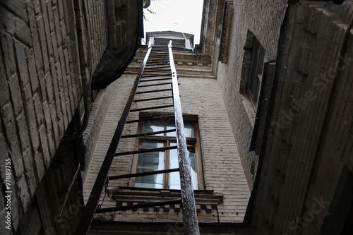 rainy ladder in the old house