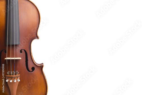 Fotografía Old violin on white background.