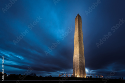 Fotografie, Obraz  Washington Monument at Night
