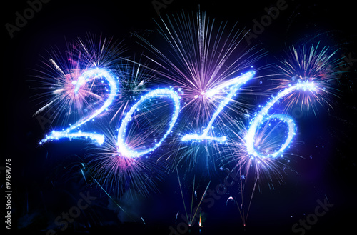 Poster  Happy New Year 2016 - Written With Fireworks