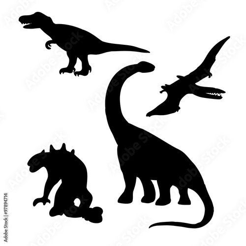 Photo  Dinosaurs (lizards) silhouettes set (drawings)