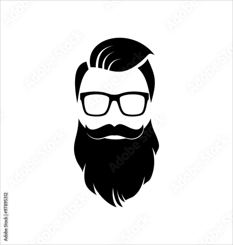 Fotografie, Obraz  Hipster Black on White Background, Hairstyle