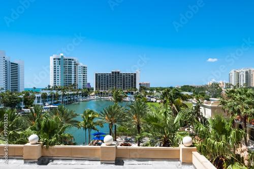 Fotografie, Obraz Luxury resort buildings at Sarasota Bay in Florida USA