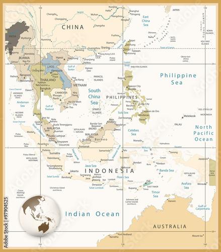 Cuadros en Lienzo Southeast Asia Detailed Map Retro Colors