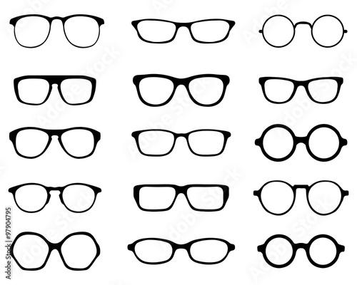 Obraz Black silhouettes of fifteen different eyeglasses, vector - fototapety do salonu