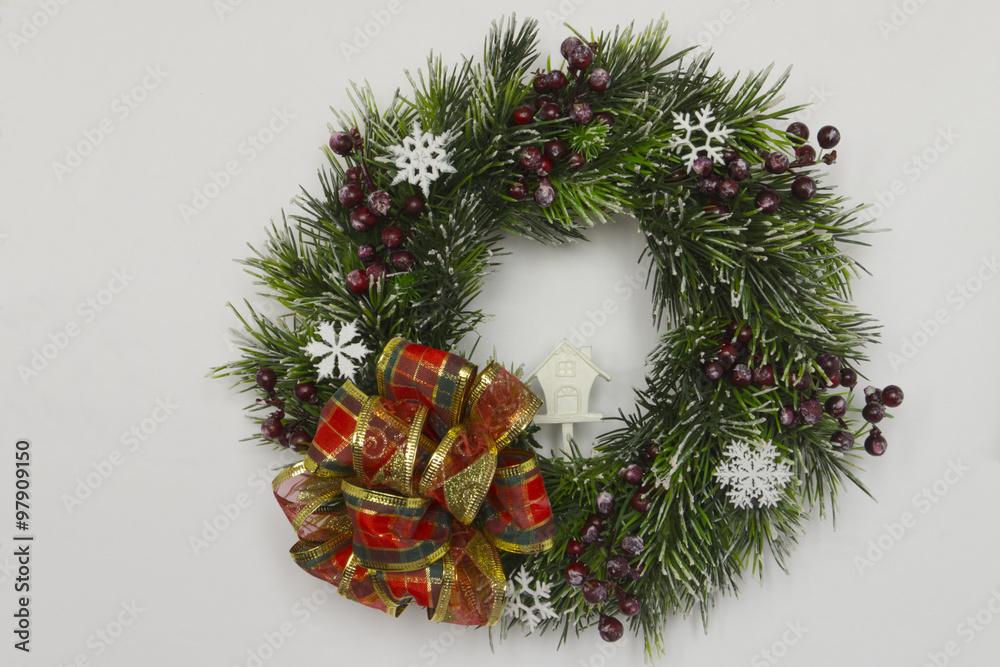 Fotografie Obraz Christmas Tree Wreath With White House Christmas