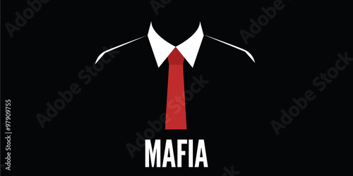 Tablou Canvas mafia man silhouette crime red tie