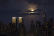 Skyline NYC Night Lights with Clouded Full Moon