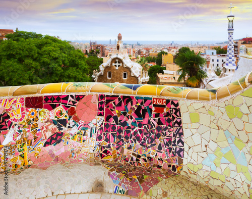 Photo sur Toile Europe Centrale Park Guell at Barcelona. Spain