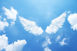 canvas print picture - Angel wings formed from clouds.