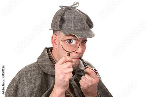 Fotografía  El detective investigar con lupa ojo grande