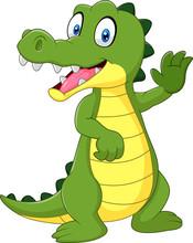 Cartoon Funny Crocodile Waving...