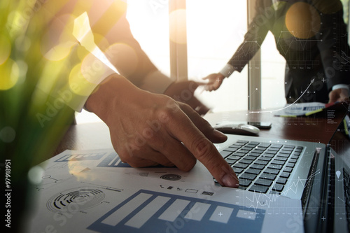 Fototapety, obrazy: double exposure of business documents on office table with moder