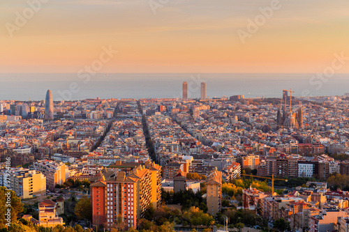 Foto op Canvas Barcelona Barcelona skyline in the afternoon at Golden Hour