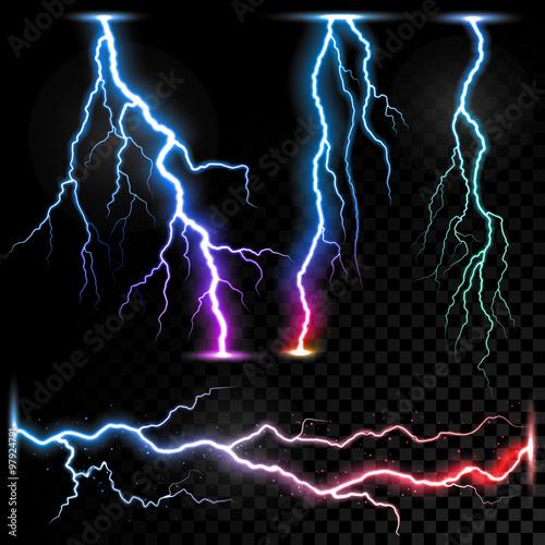 Vector realistic lightnings thunderbolt Fototapeta