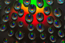 Rainbow Water Drops On Color Surface