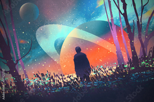 man standing alone in forest with fictional planets background,illustration