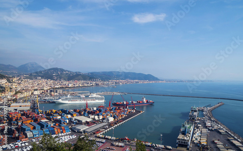 Canvas Print Gulf of  Salerno, Italy , on the Tyrrhenian Sea  and  the harbor - view from abo