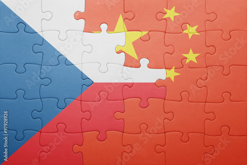 Photo  puzzle with the national flag of  czech republic and china