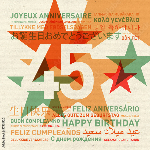 Photographie  45th anniversary happy birthday card from the world