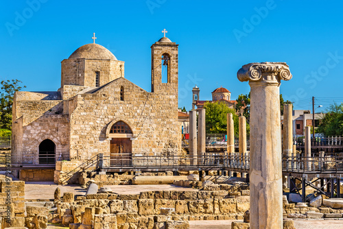 In de dag Cyprus Panagia Chrysopolitissa Basilica in Paphos - Cyprus